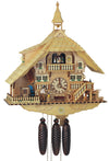 A Schneider Chalet Cuckoo Clock Sawmill with a Man chopping Wood, a St. Bernard, a Fawn and a Water Wheel