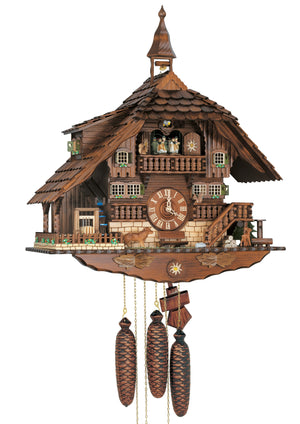An Anton Schneider Chalet Cuckoo Clock Sawmill with a Dog, two Squirrel, a Fawn and a Water Wheel