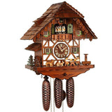 Two Bavarian Men drinking Beer with three Dogs, a Water Wheel, and a Well on a Schneider Cuckoo Clock