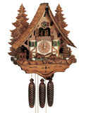 Bear themed Anton Schneider Cuckoo Clock on a Half-Timbered Chalet with Fir Trees in the back