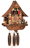Bavarian Children sitting on a Teeter Totter next to a well on a Schneider Black Forest Cuckoo Clock