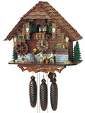 Bavarian Woman with Rolling Pin between to Men drinking Beer and two Dogs on a Schneider Cuckoo Clock