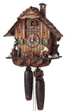 An Owl and a Squirrel watching a Bavarian Woodchopper on a Schneider Chalet Black Forest Cuckoo Clock