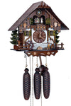 Bavarian Woodchopper in front of a Half-Timbered Schneider Black Forest Cuckoo Clock with a Water Wheel