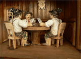Three Men playing Cards with a Cuckoo Clock hanging on Wall on Anton Schneider Cuckoo Clock