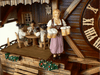 Waitress in Traditional Bavarian Dirndl carrying four Beer Mugs on Anton Schneider Chalet Cuckoo Clock