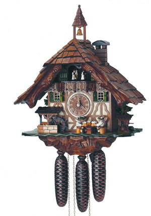 Four Bavarian Men drinking Beer next to a Well and A Water Wheel on an Anton Schneider Cuckoo Clock