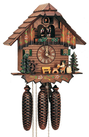 A Bavarian Man sitting on front of a German Schneider Cuckoo Clock drinking Beer next to a Water Wheel