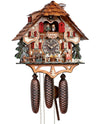 A Waitress carrying Beer Mugs to Two Beer drinking Bavarian Men on a Chalet Schneider Cuckoo Clock