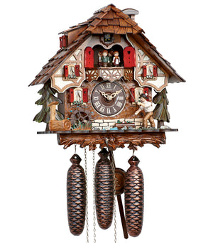 Fisherman with a Fishing Rod and a Fish on a Half-Timbered Chalet Schneider Black Forest Cuckoo Clock