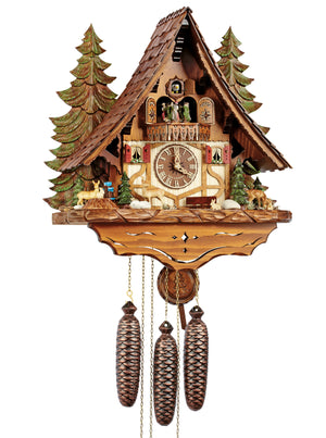Three Deer, two Bunnies and a Squirrel on a Half-Timbered Chalet Schneider Black Forest Cuckoo Clock