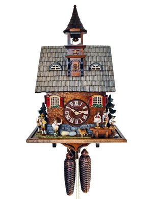 German Oompah Band with Dancers, a Man sitting on a Keg and a dog on a Schneider Chalet Cuckoo Clock