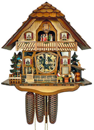 A Cat sitting on a Shed is watching a Bavarian Couple is drinking Beer on a Schneider Cuckoo Clock