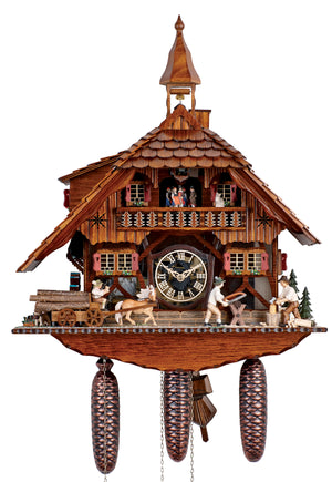 Bavarian Man and Dog delivering Wood with Horse and Cart to two Carpenters on a Schneider Cuckoo Clock