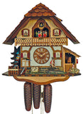 Bavarian Man and Girl taking care of a Horse on a Half-Timbered Schneider Black Forest Cuckoo Clock