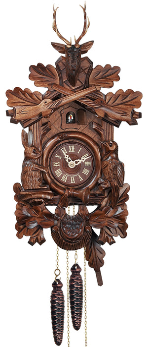 Engstler Black Forest Traditional Cuckoo Clock with a Rabbit and Bird, two Rifles and a Deer Head.