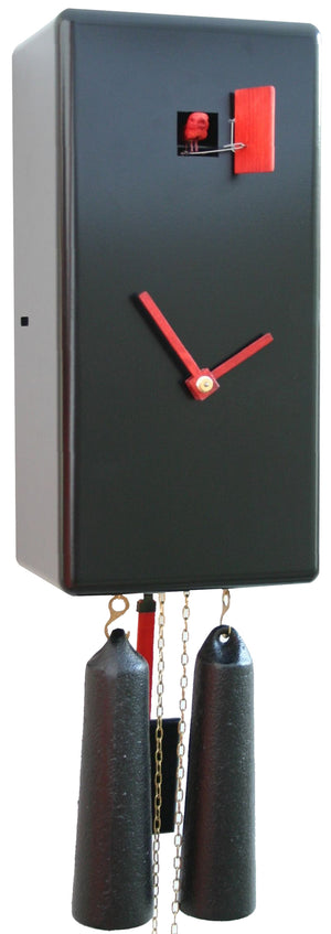 Cuckoo Clock - 8-Day Modern Clock in Black & Red - Romba