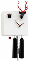 Cuckoo Clock - 8-Day Modern White Clock with Stag Head - Romba