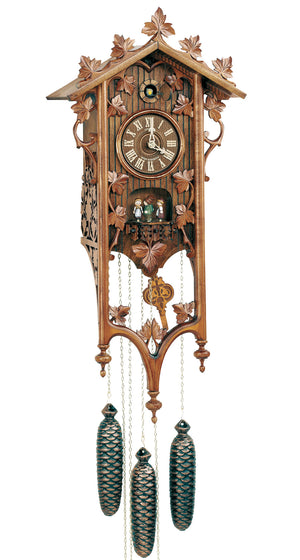 Black Forest Dancers underneath the Dial of a Schneider Traditional Stationhouse Cuckoo Clock