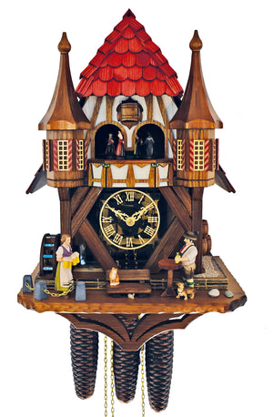 Waitress bringing Beer to a Bavarian Man with his Wiener Dog on a Town Hall Schneider Cuckoo Clock
