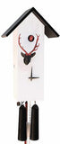 Cuckoo Clock - 8-Day Tall Modern White Clock with Stag Head - Romba