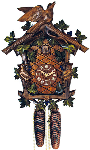Traditional Schneider Cuckoo Clock with painted Blueberries, and carved Birds amongst Vine Leaves