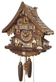 Bavarian Man drinking Beer watching a Wood chopper at Work on an Engstler Black Forest Cuckoo Clock