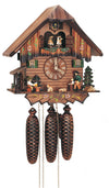 Bavarian Man drinking Beer while watching a Wood Chopper and a Dog on a Schneider Cuckoo Clock