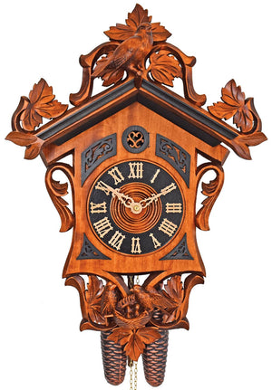 Schneider Station House Cuckoo Clock with light and dark stain and nicely carved Birds on vine Leaves