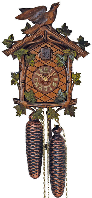 Green Vine Leaves with a carved Bird about to take flight on a Schneider Traditional Cuckoo Clock