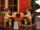 Two Bavarian Men holding their Beer Mugs on an Anton Schneider Black Forest Chalet Cuckoo Clock