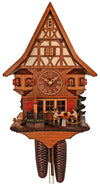 Chalet Schneider Cuckoo Clock with a Dachshund, a Well, and Two Bavarian Men Drinking Beer on Marketplace
