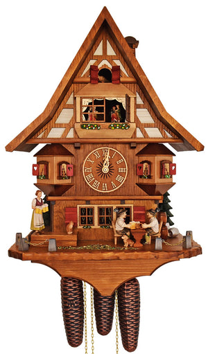 Half-Timbered Schneider Cuckoo Clock with Waitress carrying Mugs to two Bavarian Men sitting on Bench