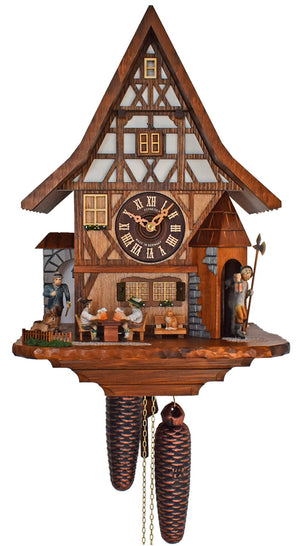 Cuckoo Clock - 8-Day with Moving Beer Drinkers & Watchman - Schneider