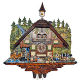 Black Forest Farmhouse Scene with Farm-Animals, Deer, and Waterfall on Schneider Chalet Cuckoo Clock