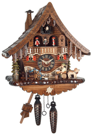 Dog standing next to Bavarian man drinking Beer looking at a Water Wheel on Engstler Chalet Cuckoo Clock