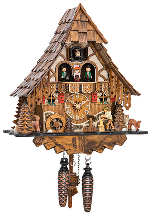 Two Fawns on an Engstler Chalet Black Forest Cuckoo Clock with a Wood Chopper and turning Water Wheel