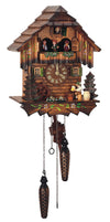 Bavarian Man sitting in front of a Timber Wood Schneider Chalet Black Forest Cuckoo Clock Drinking Beer