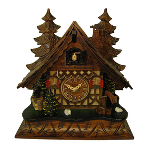 Engstler Tabletop Chalet Black Forest Cuckoo Clock with a Deer grazing next to Fir Trees and a Squirrel
