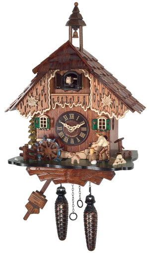 A Dog and a Water Wheel on an Engstler Chalet Black Forest Cuckoo Clock with a Bavarian Man chopping Wood