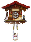 Heidi, Peter, and Goats in front of Heidi's Chalet on Engstler Miniature Clock with Bavarian Girl on Swing