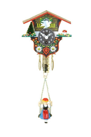 Key Wind Up Chalet Clock with Black Forest Girl - Engstler