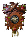 Five Leaves with painted Roses and a Cuckoo Bird on an Engstler Key Wind Up Clock with brass colored Pendulum