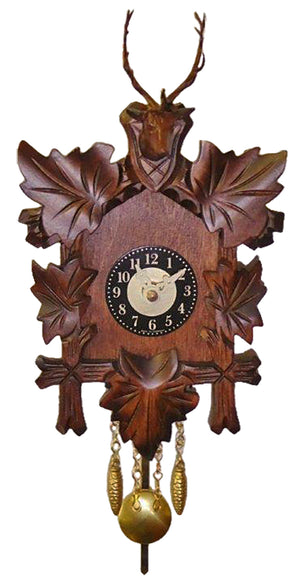 Five Ivy Leaves frame an Engstler Miniature Clock with  a Stag Head with Antlers