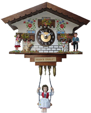 Heidi and Peter in front of Heidi's Chalet on Engstler Miniature Clock with Bavarian Girl swinging