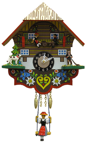 Black Forest Girl Swinging on Engstler Miniature Clock with couple on Teeter Tot, a Dog, and Alphorn Blower