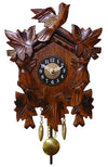 Five Leaves and three Birds on an Engstler Miniature Clock with brass colored Pendulum