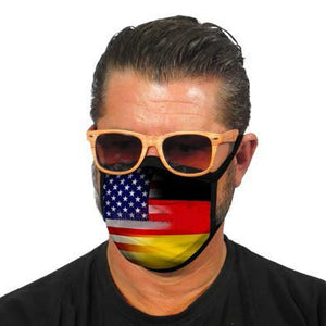Man wearing a German-American Friendship Mask from Pfaff