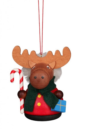 The little Ornament is a Moose dressed as Santa with a Candy Cane and a Present. There is a dark Scarf wrapped around his Neck.