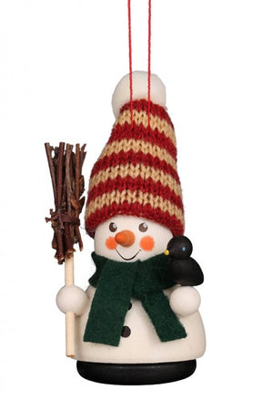 Christian Ulbricht Wooden Wobble Figure - Snowman with Broom (Ornament)